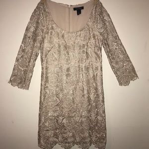 WHBM Champagne Colored Lace Mini Dress